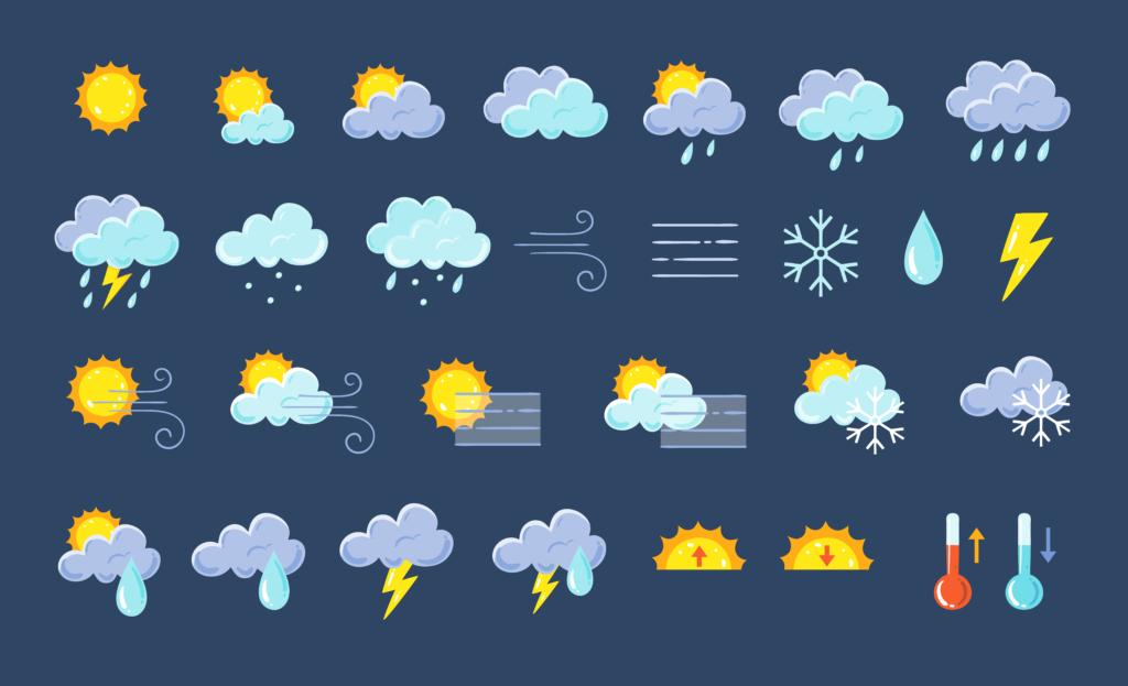 Piirroskuvituskuva eri sääilmiöistä. Aurinkoa, sadetta, lunnta...