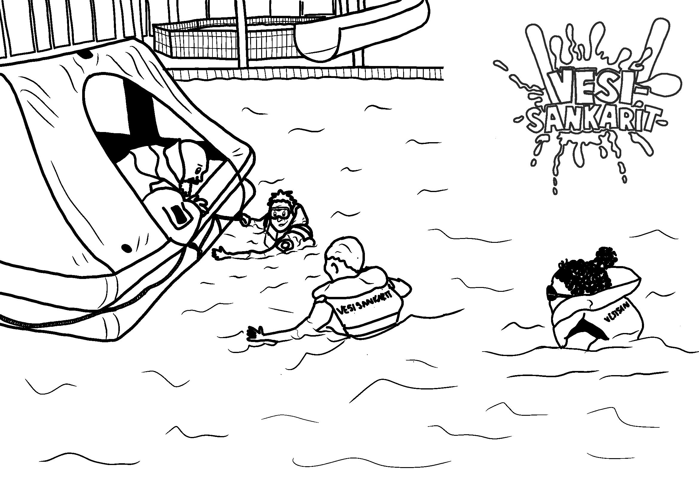 Kuvituskuva meripelastusvärityskuvasta